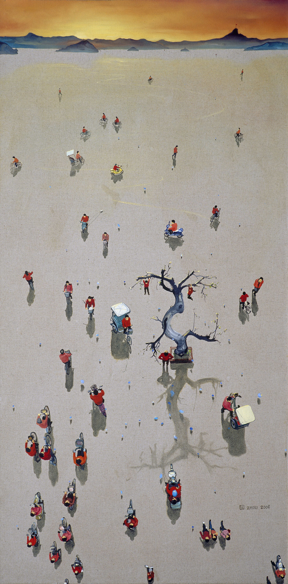 Zhou Jinhua 周金华, In the Evening No.8 人在黄昏 No.8, 2006, Oil on canvas 布面油画, 150 x 75 cm