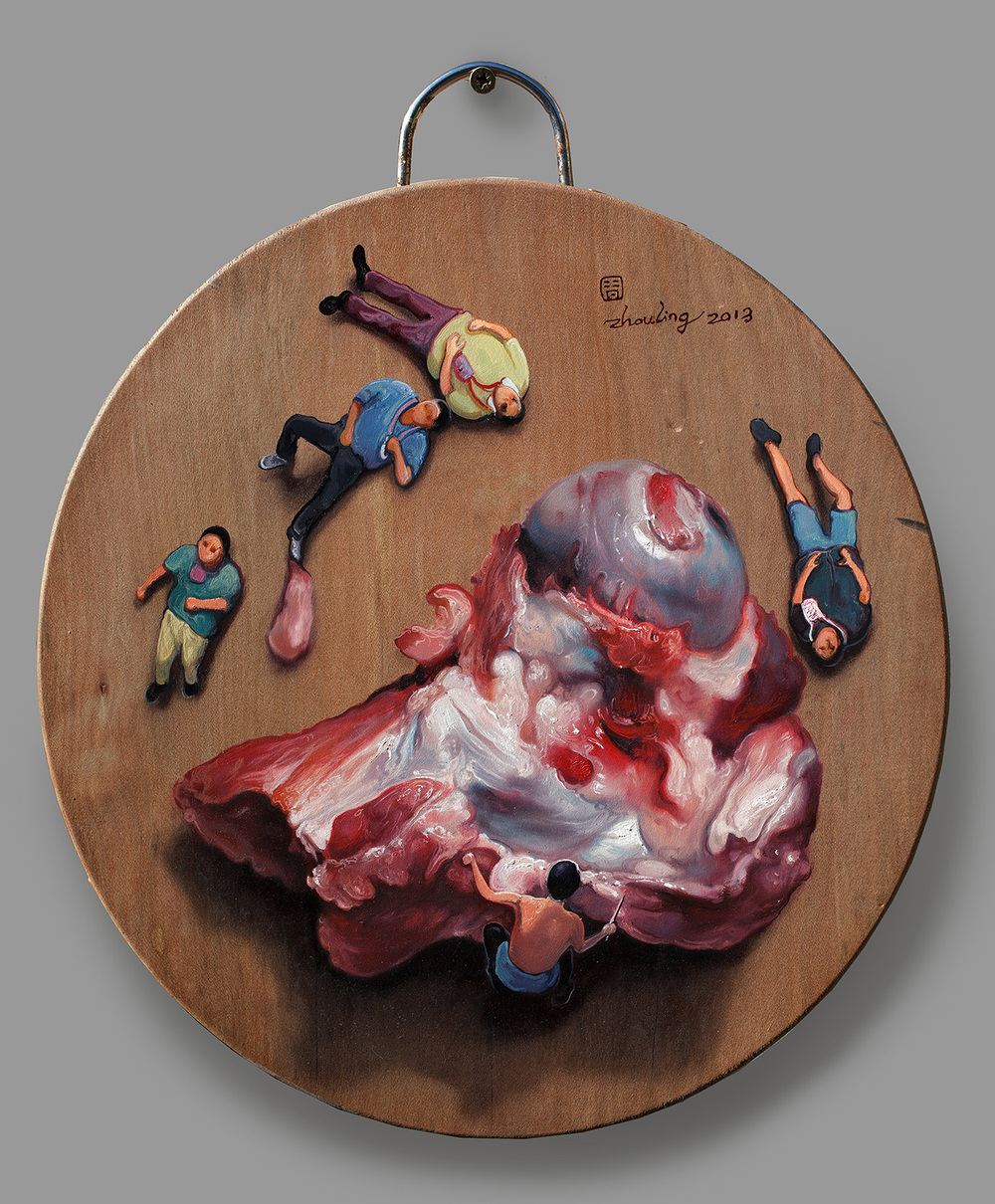 Zhou Jinhua 周金华, Chopping Block No.15 砧板 No.15, 2013, Oil on chop board 木板油画