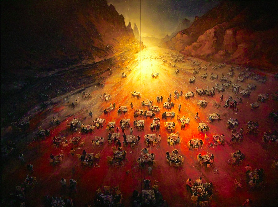 Zhou Jinhua 周金华, The Sunset Dinner 夕阳下的晚餐, 2008, Oil on canvas 布面油画, 300 x 400 cm