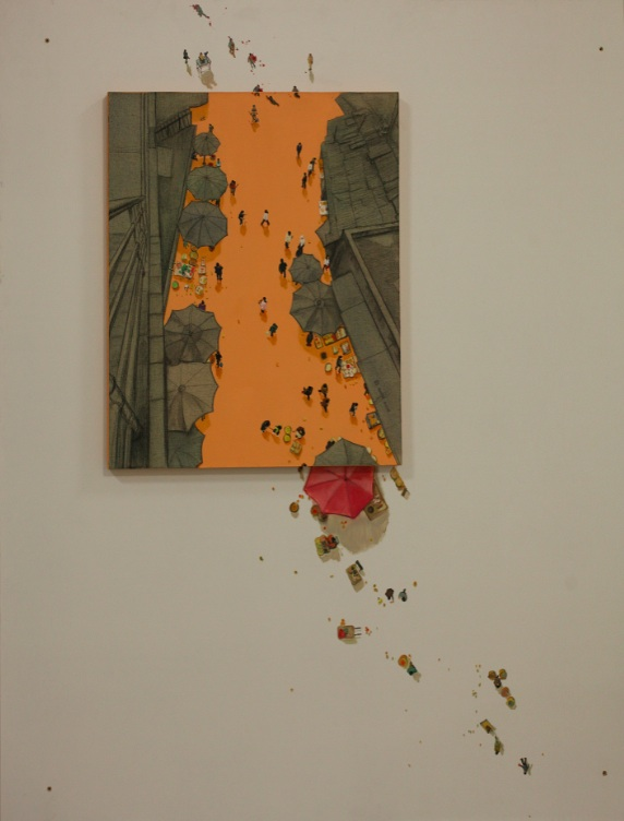 Zhou Jinhua 周金华, Street 街道, 2005-2012, Oil on canvas 布面油画, 220 x 150 cm