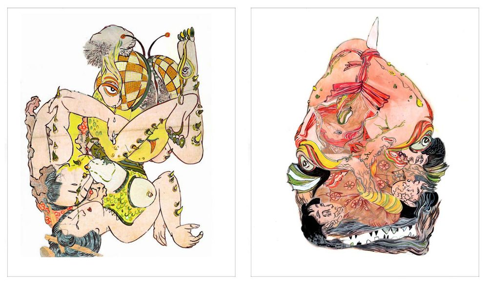 Howie Tusi 徐浩恩, Of Shunga & Monsters 春画与怪兽, 2007 - 2008, Acrylic, ink and collage on mylar 聚脂薄膜、丙烯、墨与拼贴