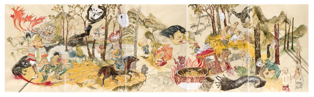 Howie Tsui 徐浩恩, Forest Romp 林中嬉戏, 2009, Ink and paint pigment on mulberry paper 桑皮纸、国画颜料与墨, 113 x 334 cm