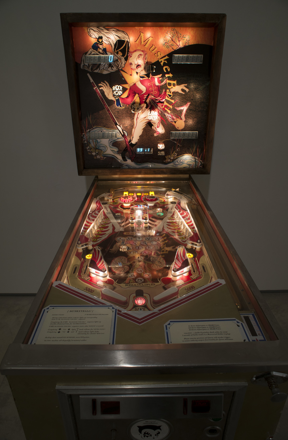 Howie Tsui 徐浩恩, Musketball! 火枪球弹!!, 2012, Pinball machine, Plexiglas, acrylic paint, vinyl, mp3 trigger and speakers 改装弹球机, 178 x 72 x 136 cm