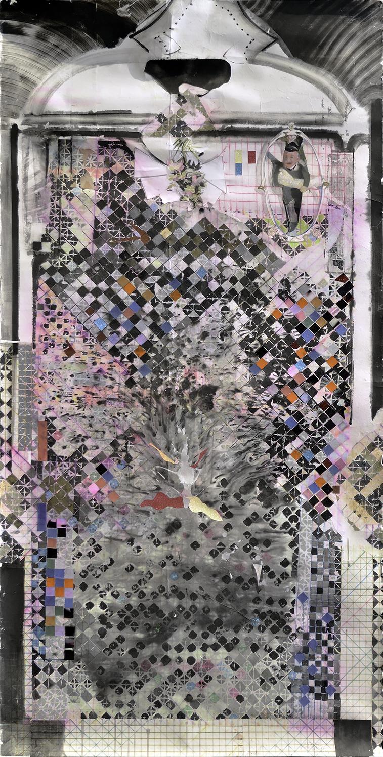 Chen Yujun 陈彧君, Asia Map 亚洲地图, 2008, Paper, mixed media 纸本综合材料, 240 x 120 cm