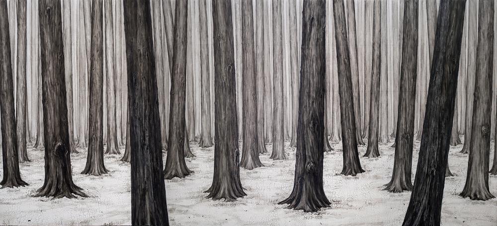 Ni Youyu 倪有鱼,Forest No.2 丛林2, 2014, Mixed media on canvas 布面综合材料, 200 x 440 cm