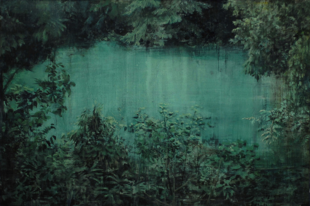 Lu Song 吕松, Blue Pond 清池, 2011, Oil on canvas 布面油画, 100 x 150 cm