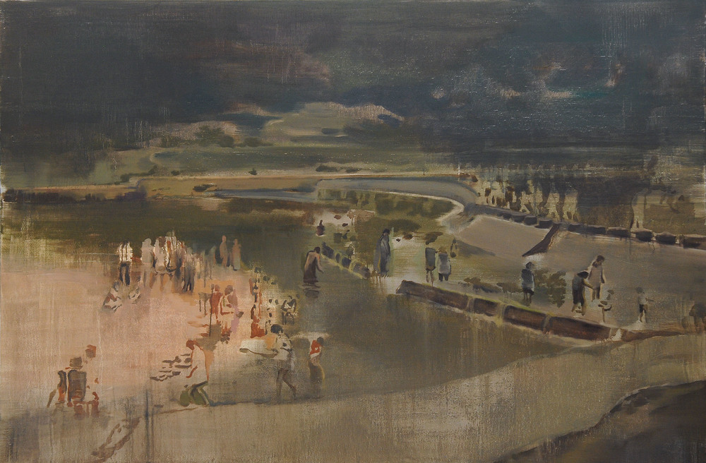 Lu Song 吕松, River Dam 河堤, 2014, Oil on canvas 布面油画, 210 x 140 cm