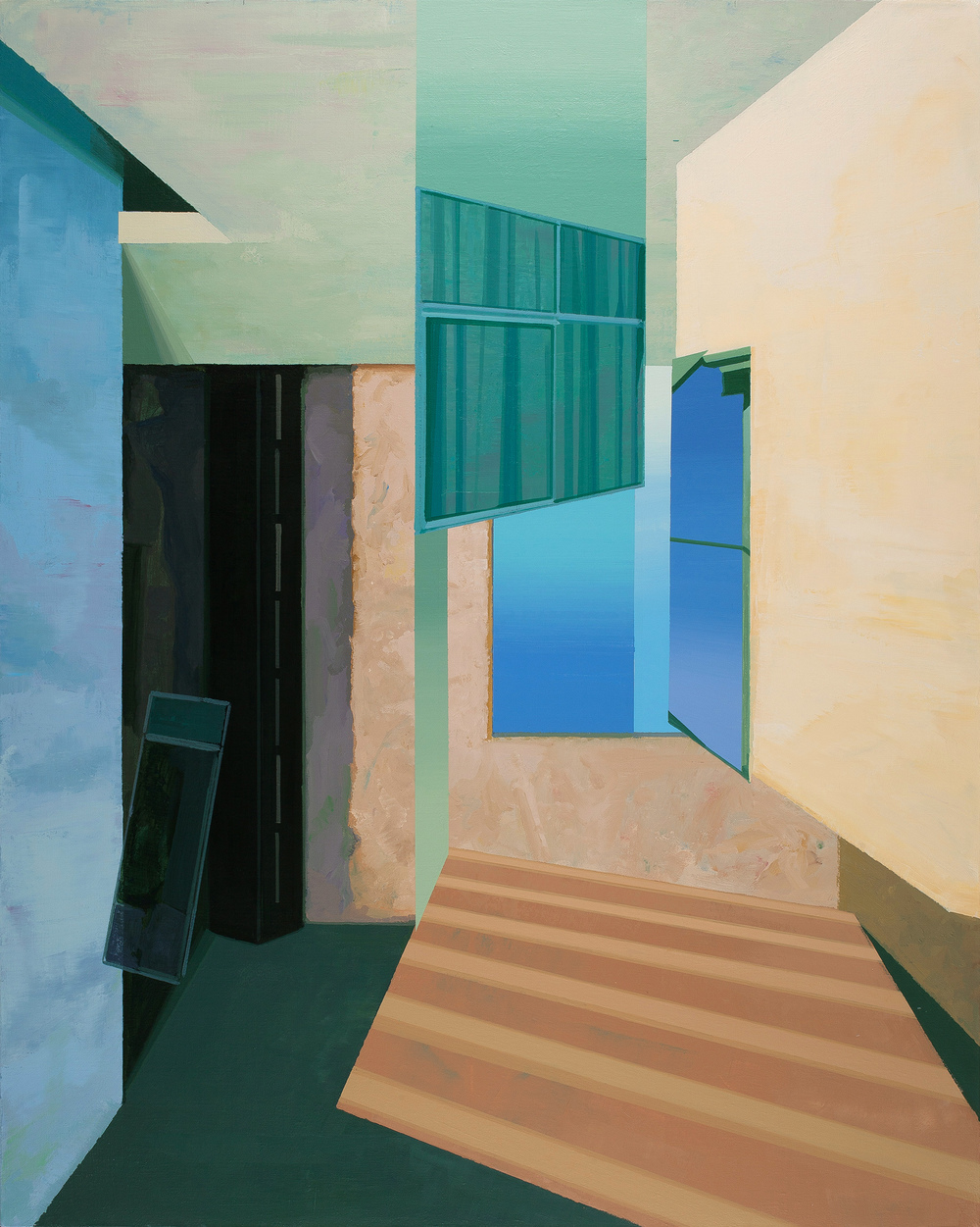 Hou Yong 侯勇, Tilted Wall-05 倾斜的墙-05, 2014, Acrylic on canvas 布面丙烯, 150 x 130cm