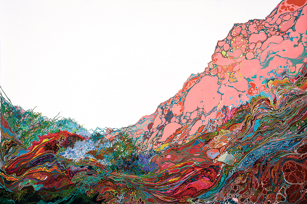 Zhou Fan 周范, Mountain #0003 山脉#0003, 2014, Acrylic ink and mineral color on paper 纸上亚克力彩墨与矿物颜料, 38.3 x 56.7 cm