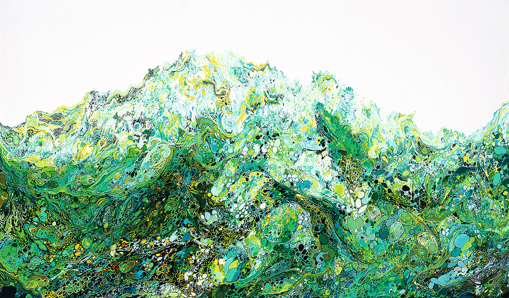 Zhou Fan 周范, Mountain #0002 山脉#0002, 2014, Acrylic ink and mineral color on paper 纸上亚克力彩墨与矿物颜料, 46 x 77.5 cm