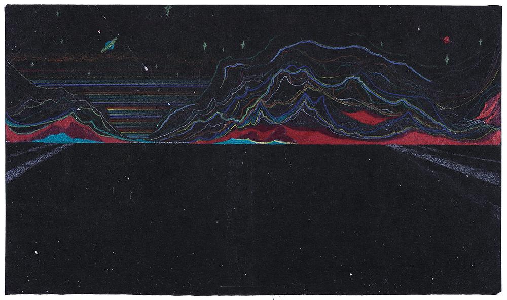 Zhou Fan 周范, Landscape 00:01 风景 00:01, 2015, Colored pencil on Japanese linen paper 彩铅、日本麻纸, 18 x 31 cm