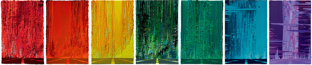 Zhou Fan 周范, Rainbow Highway 彩虹高速路, 2015, Acrylic on canvas 布面丙烯, 30 x 20 cm each