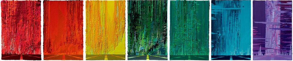 Zhou Fan 周范, Rainbow Highway 彩虹高速路, 2015, Acrylic on canvas 布面丙烯, 30 x 20 cm each