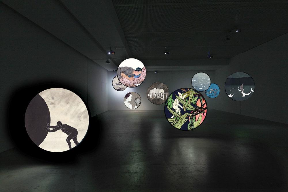 Wu Junyong 吴俊勇, Thousands of Moon 千月, 2012, Nine channels video Installation 单频动画装置