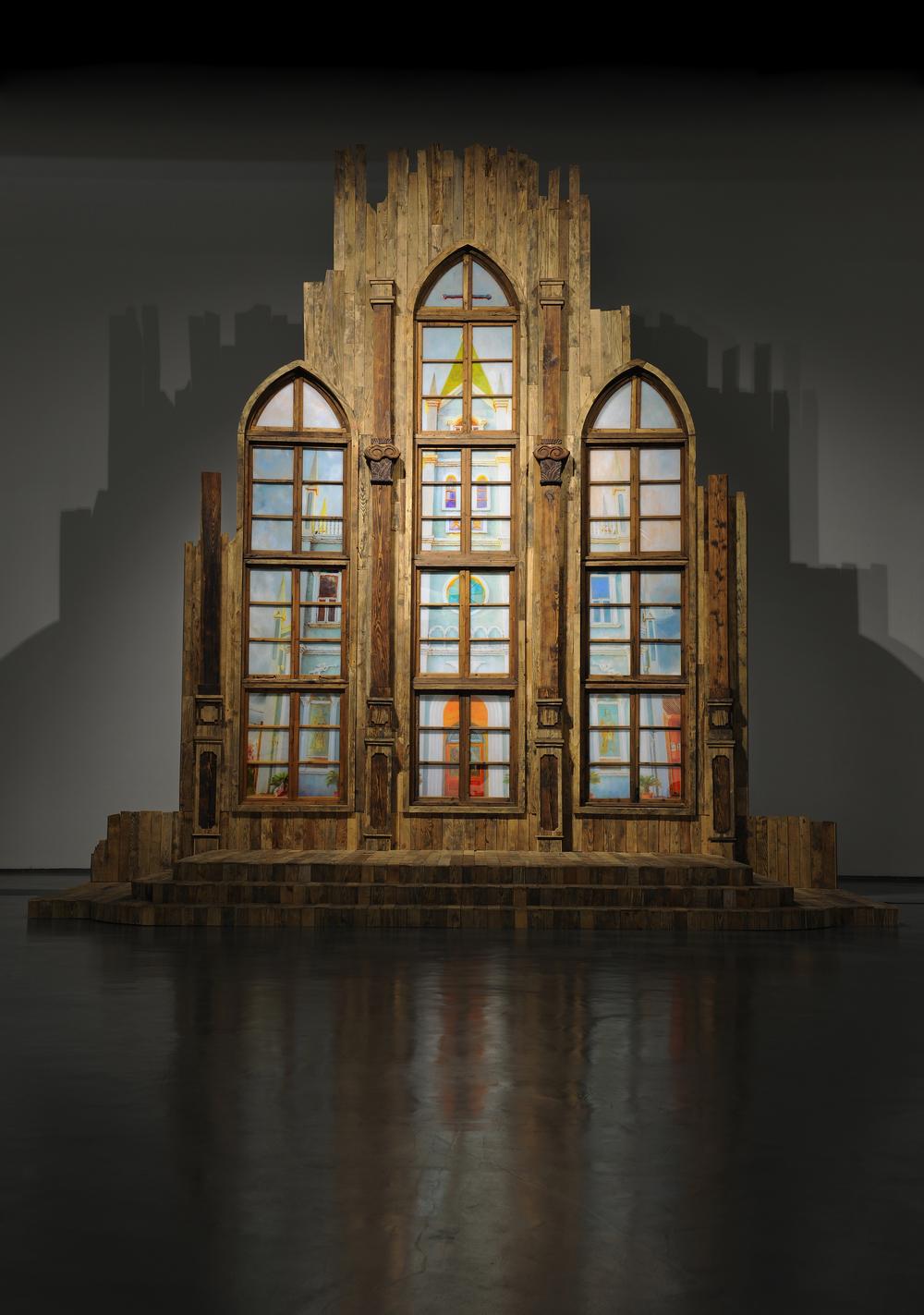 Li Qing 李青, Rural Church 乡村教堂, 2014-2015, Wood,oil on plexiglass, metal 木、有机玻璃、金属、油彩, 600 x 560 x 500 cm