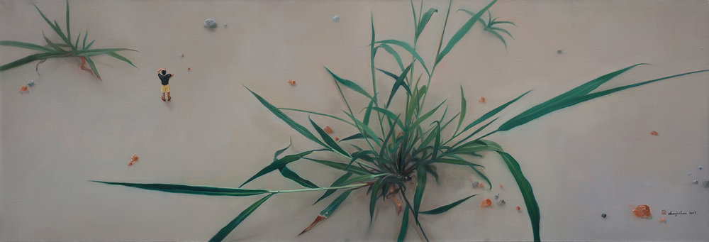 Zhou Jinhua 周金华, Wild Grass 野草 No.8, 2017, Oil on canvas 布面油彩, 41 x 121 cm