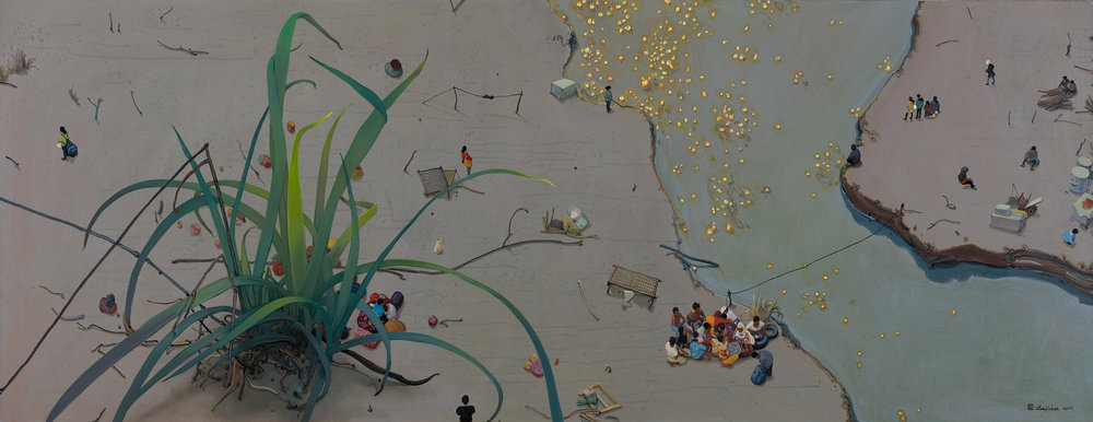 Zhou Jinhua 周金华, Grass and Gold 野草与黄金 No.2, 2017, Mixed media on canvas 布面综合材料, 80 x 210 cm