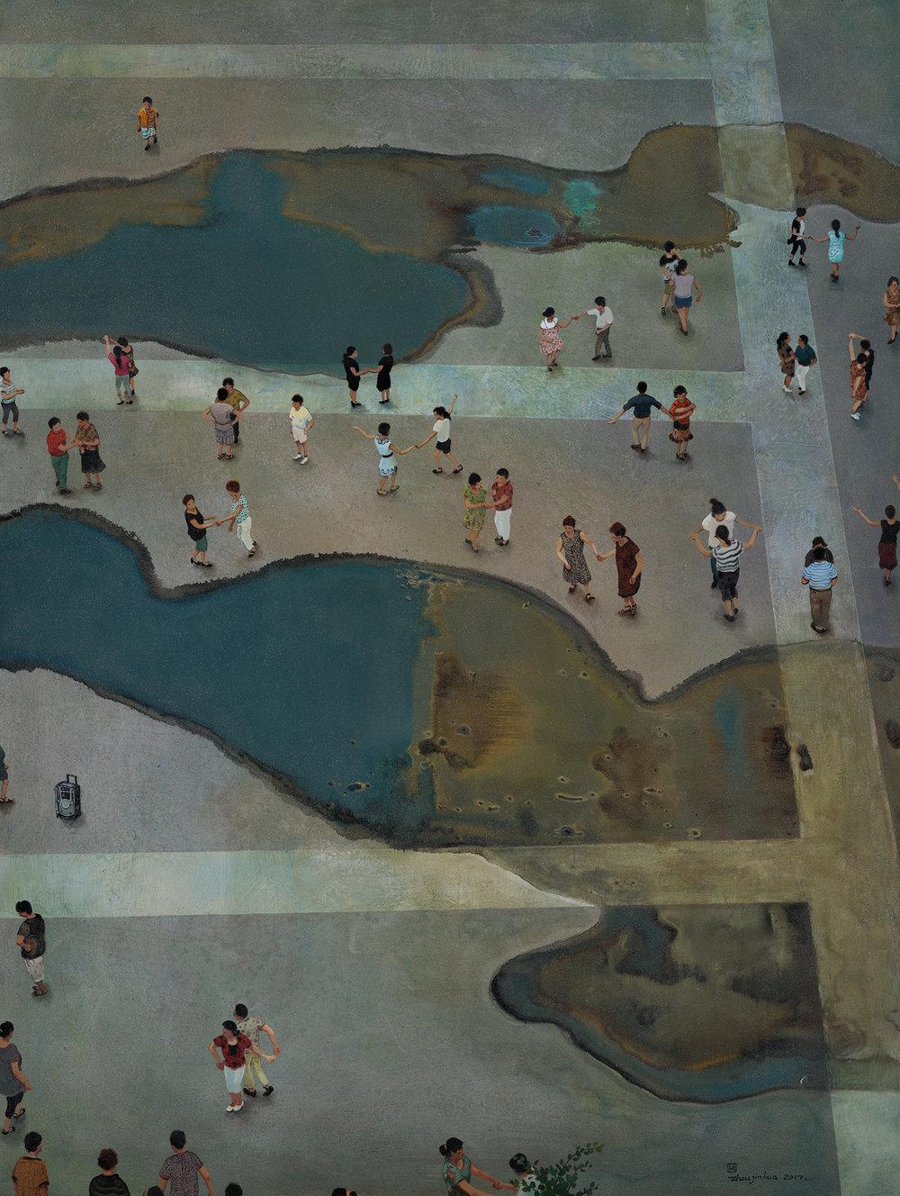 Zhou Jinhua 周金华, Wet Paradise 湿乐园 No.1, 2017, Mixed media on canvas 布面综合材料, 160 x 120 cm