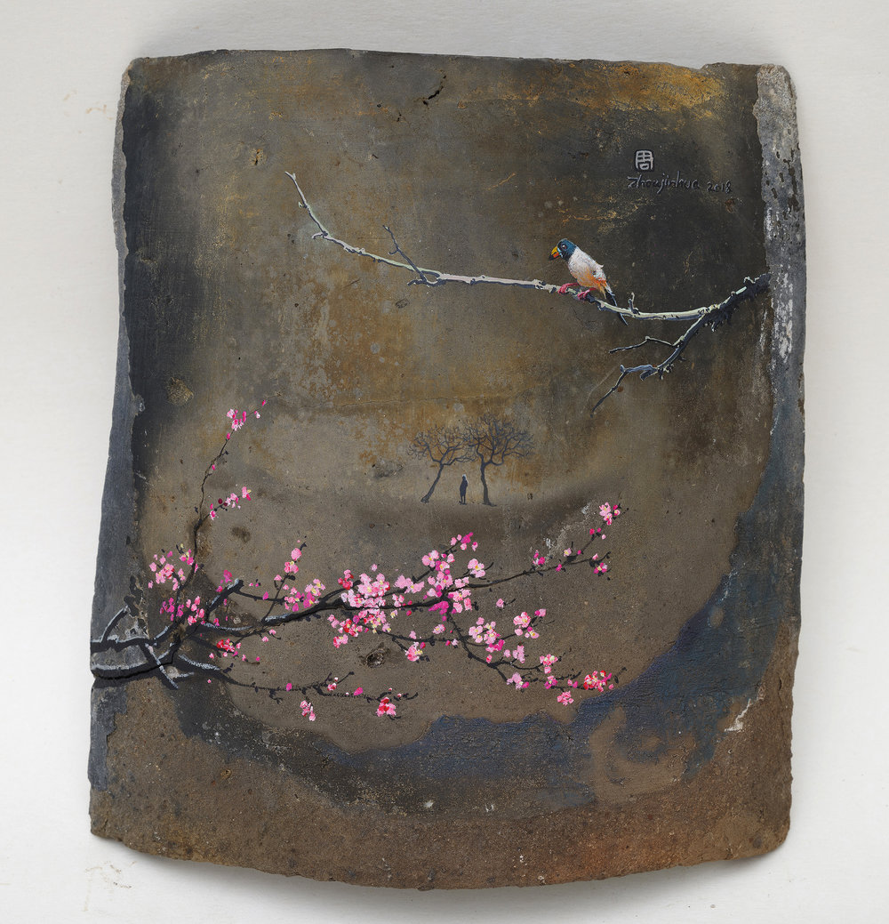 Zhou Jinhua 周金华, Remains of the Day 你我的痕迹 No.6, 2018, Acrylic on roof tile 瓦片、丙烯颜料, 21.5 x 19.5 cm