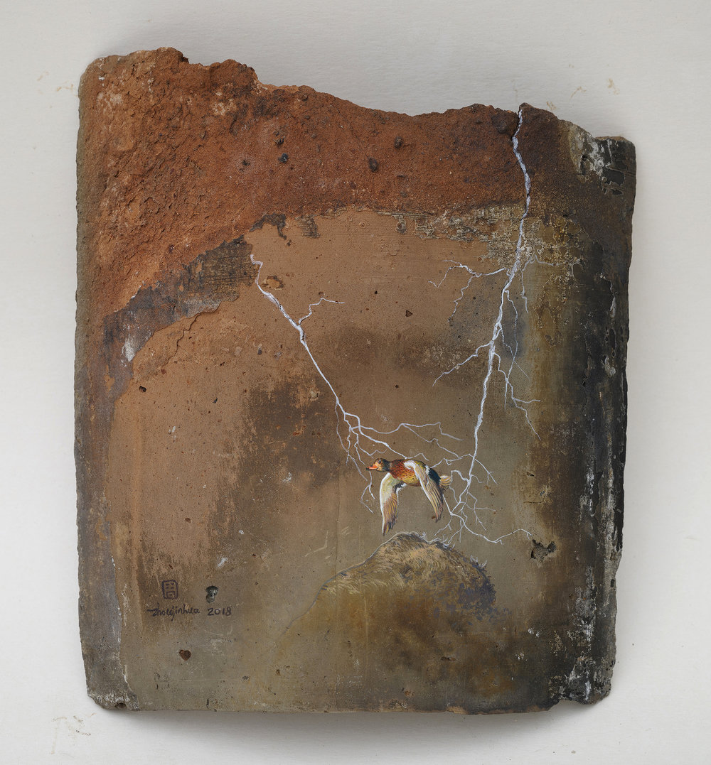 Remains of a Day No.7_2018_H21.5x18.5cm_acrylic on roof tile.jpg