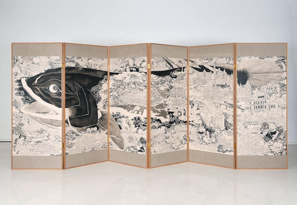 Zhang Wenzhi 张文智, Dalny 达里尼, 2018, Ink, archival material on rice paper mounted on linen, teak wood frame 历史文献、纸本水墨柚木屏风, 180 x 73 x 3 cm x 6