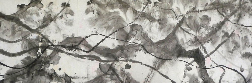 Zhou Jianjun 周建军, Untitled 无题, 2016, Ink on paper 纸本水墨设色, 83 x 250 cm