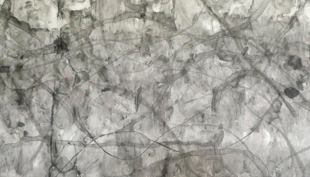 Zhou Jianjun 周建军, Untitled 无题, 2016, Ink on paper 纸本水墨设色, 110 x 195 cm