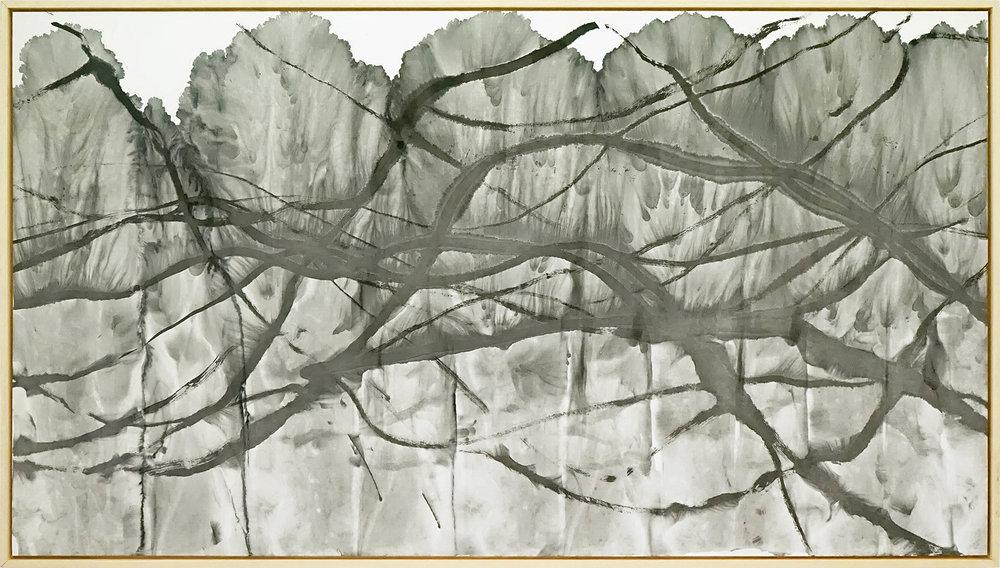 Zhou Jianjun 周建军, Untitled 无题, 2014, Ink on paper 纸本水墨设色, 100 x 183 cm