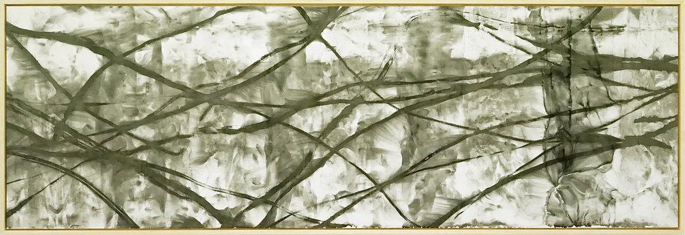 Zhou Jianjun 周建军, Untitled 无题, 2014, Ink on paper 纸本水墨设色, 75 x 250 cm