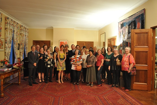 The   Ambassador of France, H.E. Mr Christophe Lecourtier; Hannah Gason; Ivana Jirasek; Bev Growden & Eric Soulier with guests.