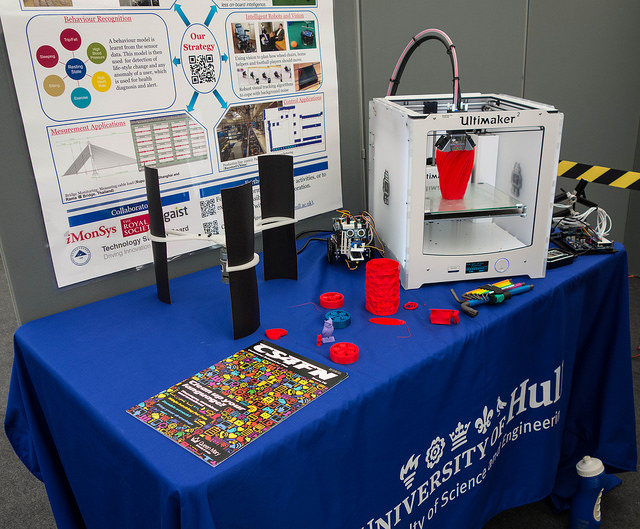 Printer and a few bits and bobs, including a wind turbine that we printed with it.