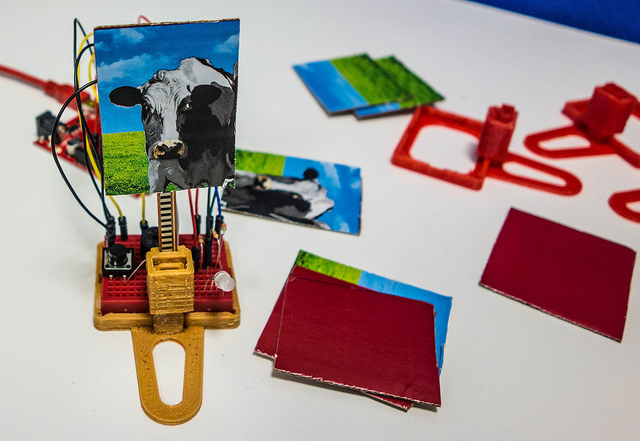 "The 3D Printed holder for the circuitry and ""Evil Cow"" targets"