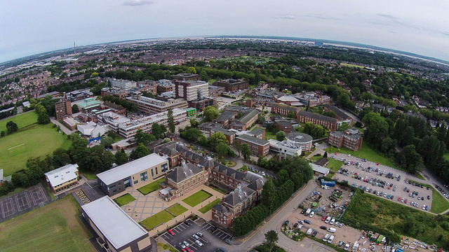 This is the view from the quadcopter, looking over the campus.