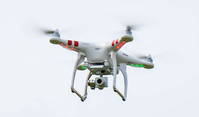This is the 'copter, with its image stabilised camera.