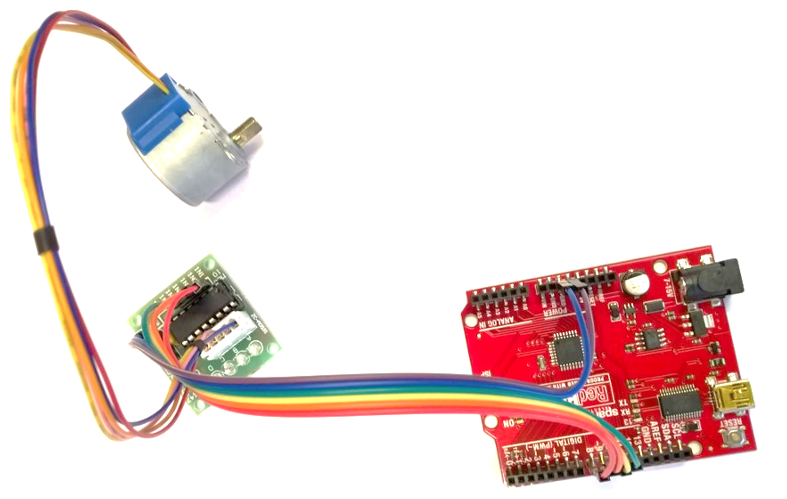 An Arduino and a stepper motor. You can get the pair for well under ten pounds if you shop around!