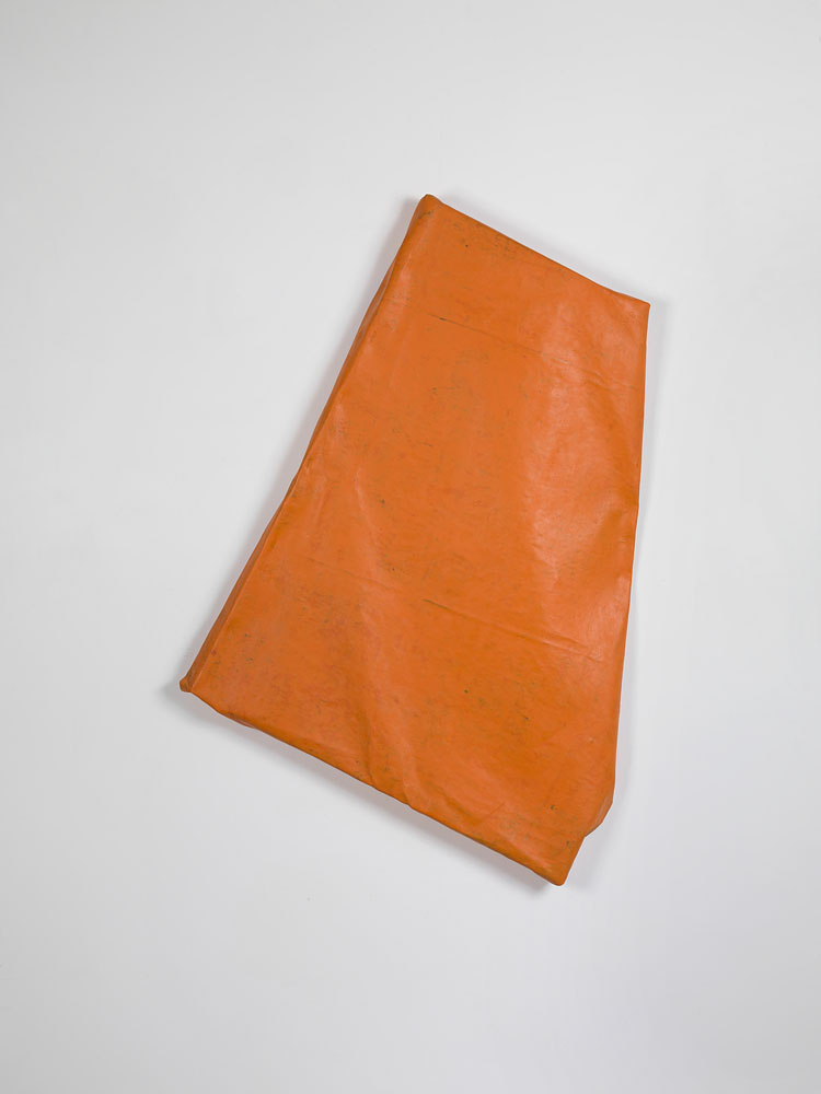 Folded-over Painting (Orange#2) ,  2012 oil, wax, canvas, wood cm 53 x 69 x 10