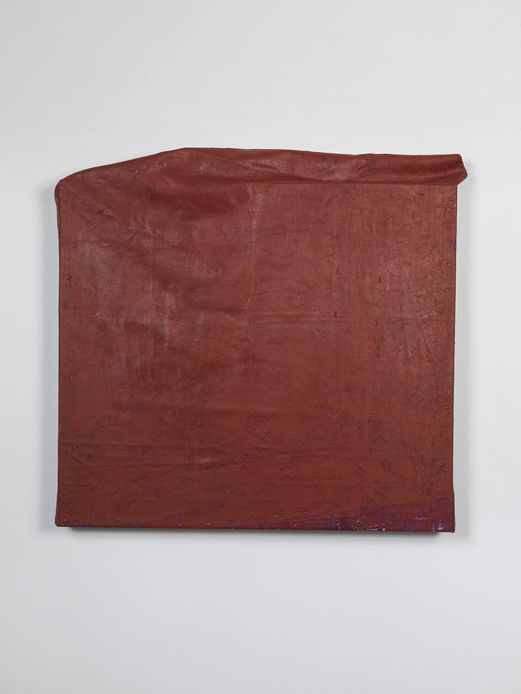 Folded-over Painting (red/hotizontal) ,  2013 oil, wax, canvas, wood cm 69 x 72 x 6 ca.