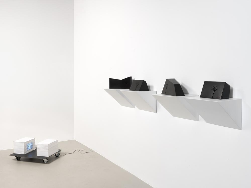 faccia a faccia,  2012 tecnica mista/ mixed media,   m- arbre installazione, 2012marmo nero di Belgio/black belgian marble