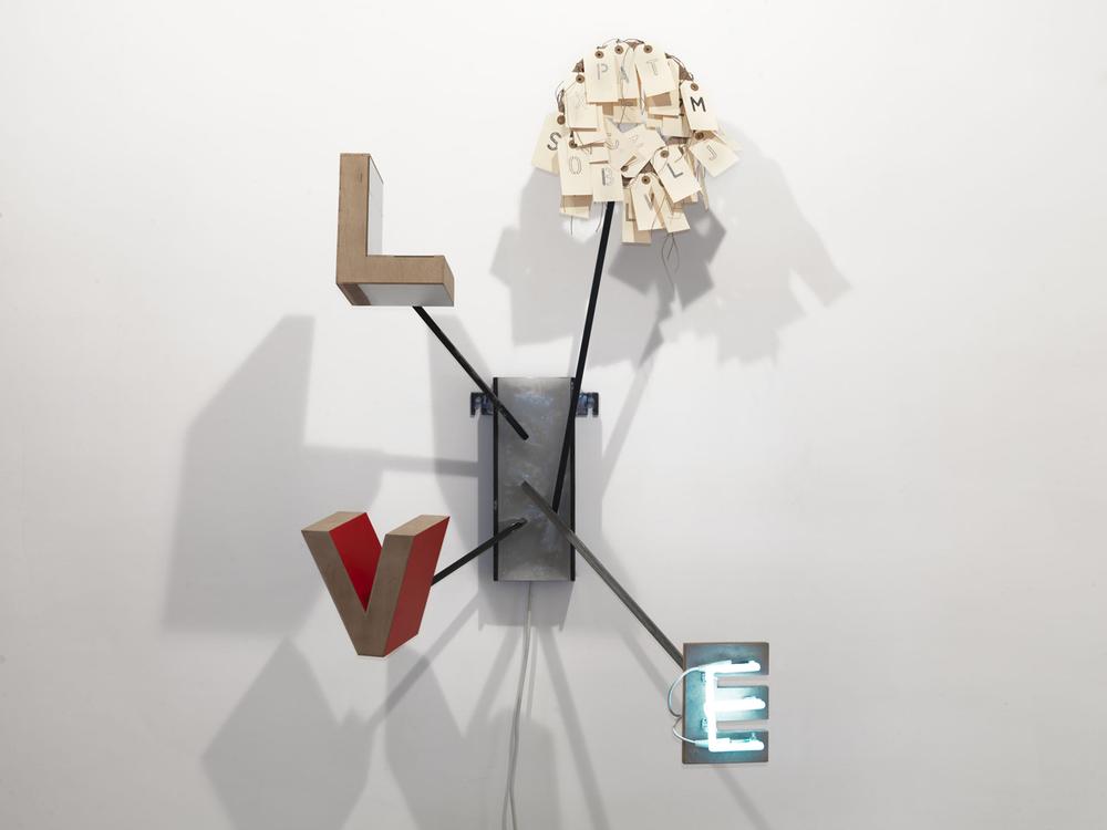 Love   ferro, legno, cera, cartone, neon   cm. 120x83x44