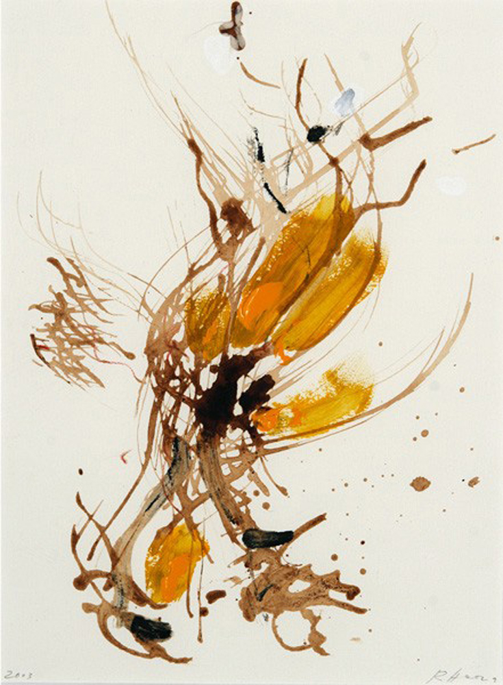Untitled,  2003, oil and mixed media on paper, cm 32x23 (framed cm 48x38)