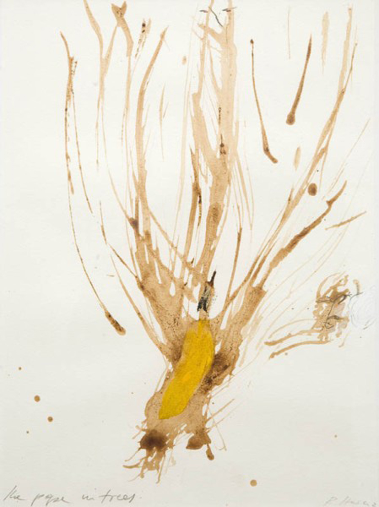 The pope in trees , 2006, mixed media on paper, cm 32x23 (framed cm 48x38)