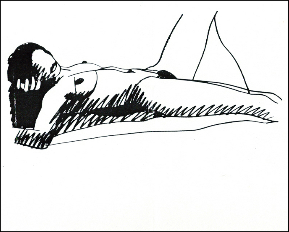 Tom Wesselmann, 1985/90,  Monica lying on her Back , steeldrawing, cm 60x132