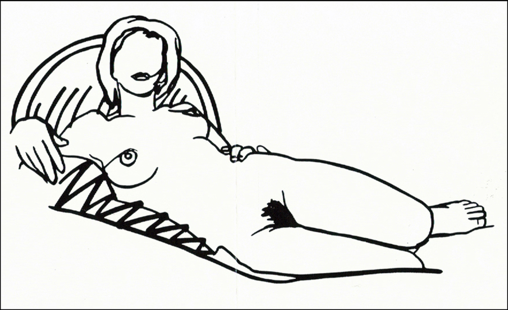 Tom Wesselmann, 1985/90,  Monica reclining on Blanket and Pillow , steeldrawing, cm 68x115