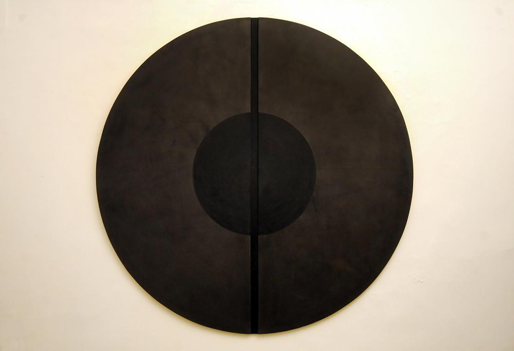 Alfredo Pirri, 28 maggio 1987  Tecnica mista su legno, diametro cm 140