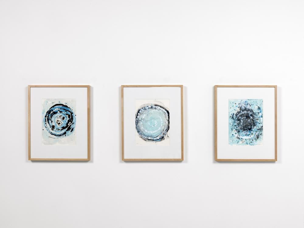 Rebecca Horn,  Augen Wirbel,  2015 ,  matita e acrilico su carta, cm. 40 x 30 cad. (con cornice cm. 64 x 52)