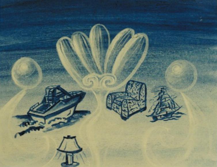 Kenny Scharf,  Capri Azzurro , 1987, gouache su cartoncino telato, cm 28x35