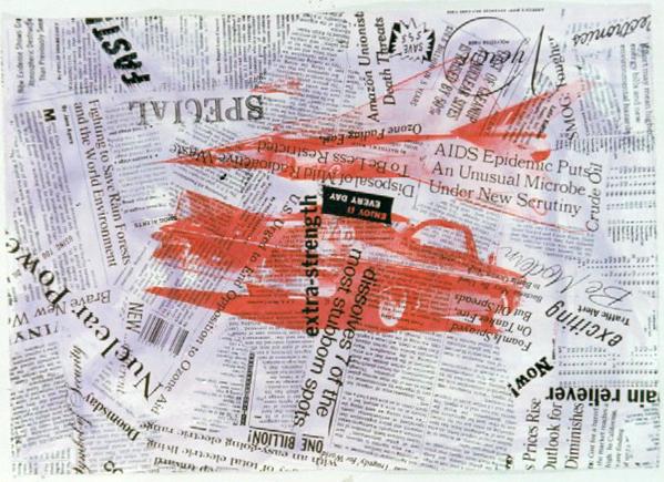 Kenny Scharf, 1991, tecnica mista su cartoncino, cm 76x108