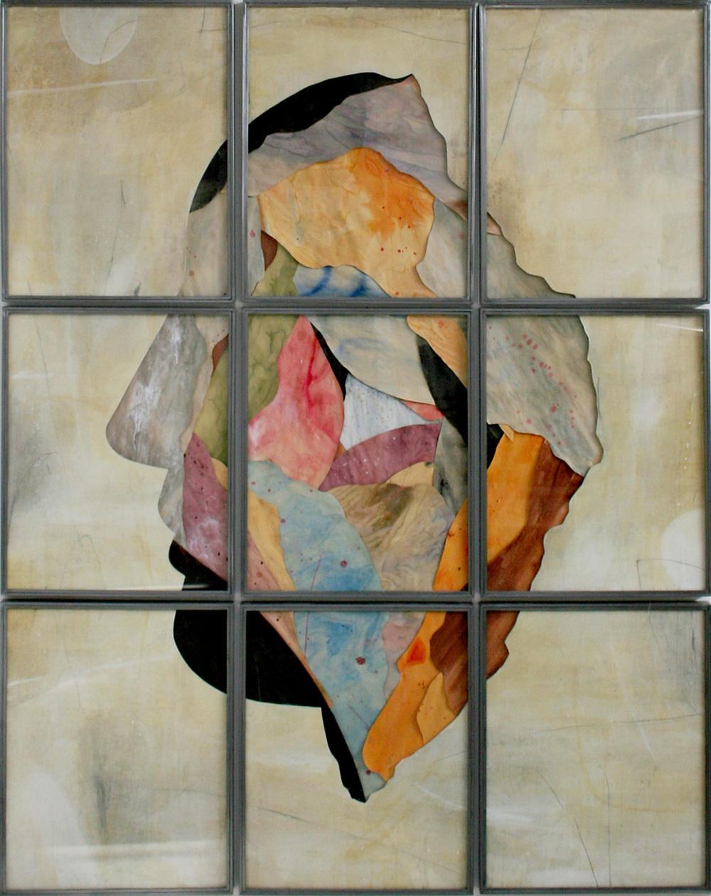 Umberto Manzo,  Senza titolo , 2016, tecnica mista su carta e tela montata su legno,ferro, vetro cm 280x220