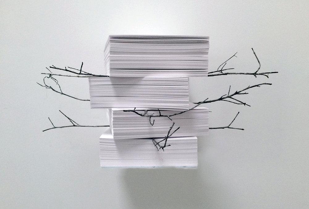 Marisa Albanese,  Memoria #2 , 2016, carta e bronzo,cm 20x45x48 ca. (mensola cm 21x16)