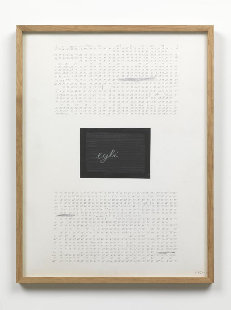 Carlo Alfano,  Senza Titolo , 1979, penna e collage su carta, cm 63,8x48